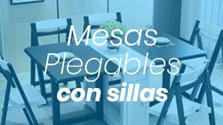 mesas plegables con sillas